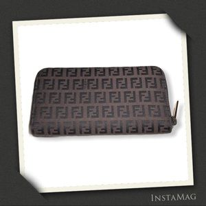 FENDI Black/Brown Canvas Zucchino Style Wallet